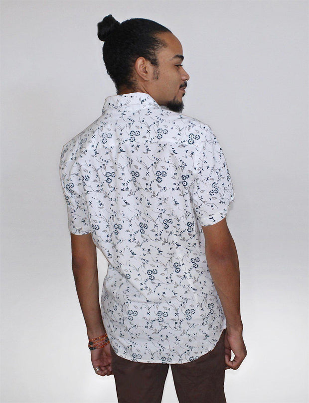 Blue Daisy Men's Button Down Shirt
