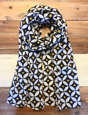 Navy & Yellow Diamond Scarf