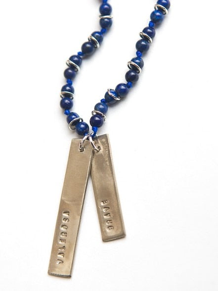 Brave Stamped Lapis Necklace