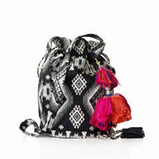 Anita Crossbody Bucket Bag (Black / White)