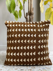 african mudcloth pillow cover - mustard yellow triangles