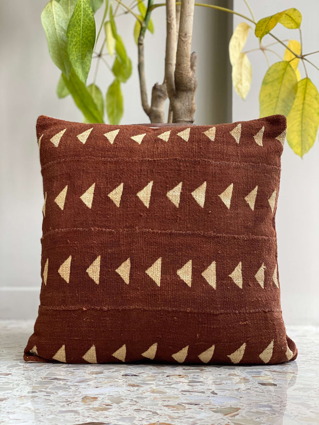 african mudcloth pillow cover - rust triangles