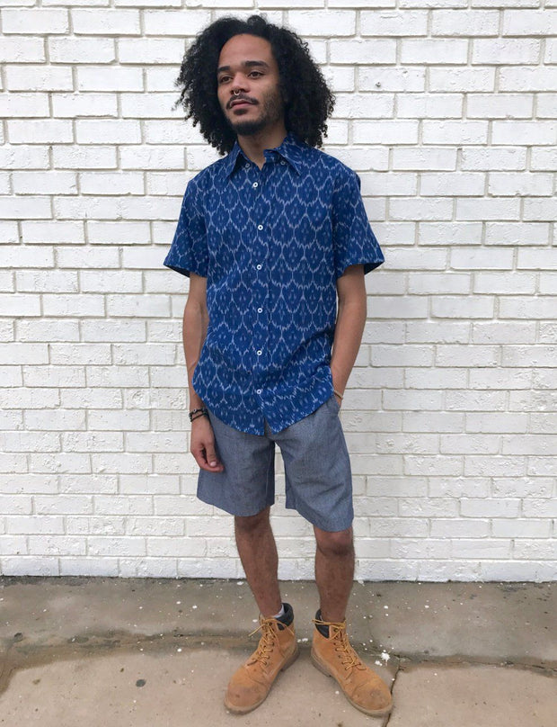 Cobalt Blue Men's Button Down Shirt