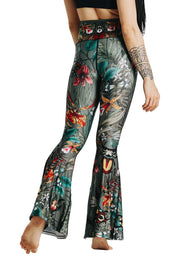 Green Thumb Printed Bell Bottoms