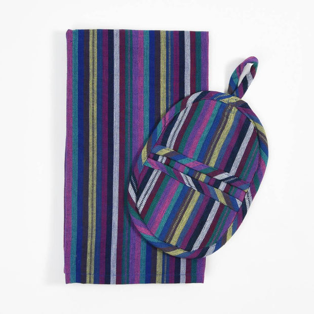 Dish Towel & Pot Holder Gift Set | Cobalt Blue Stripes