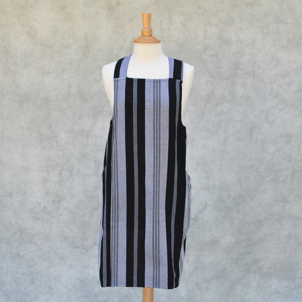 Crossback Apron | Black & Gray Stripes
