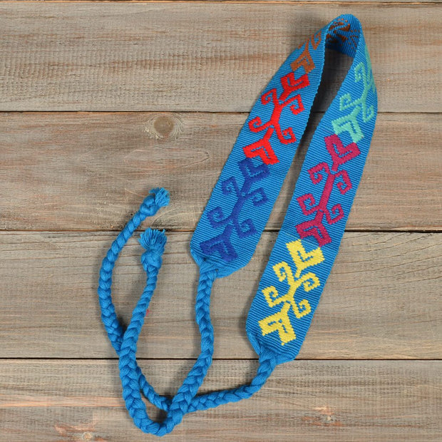 Boho Embroidered Headband | Ocean Blue