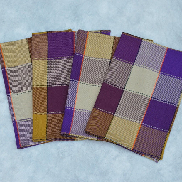 Plaid Twill Placemats | Mustard & Eggplant