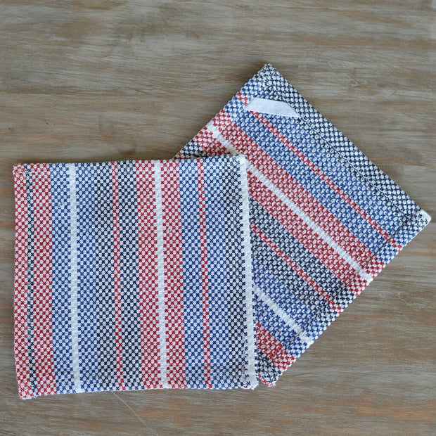 Dish Cloths Red White & Blue Stripes on White