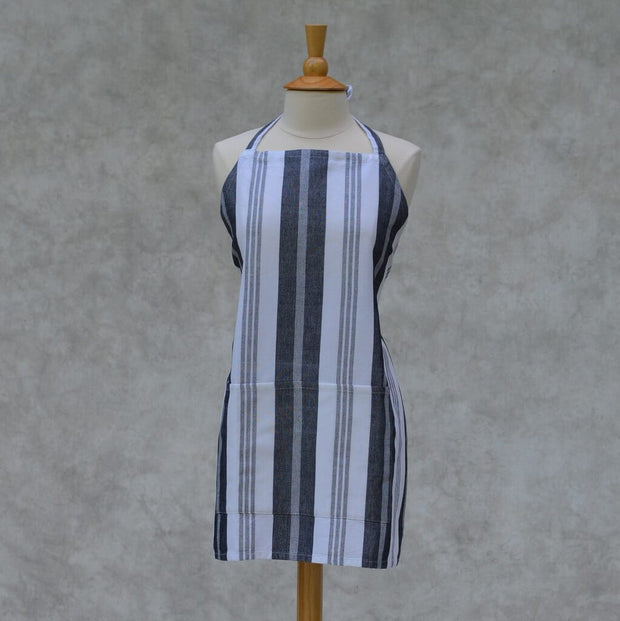 Bib Apron in Black & White Stripes