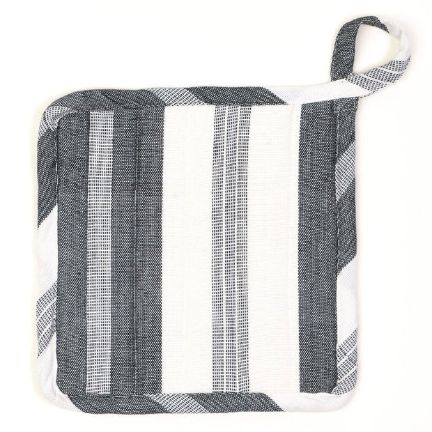 Square Pot Holder | Black & White Stripes