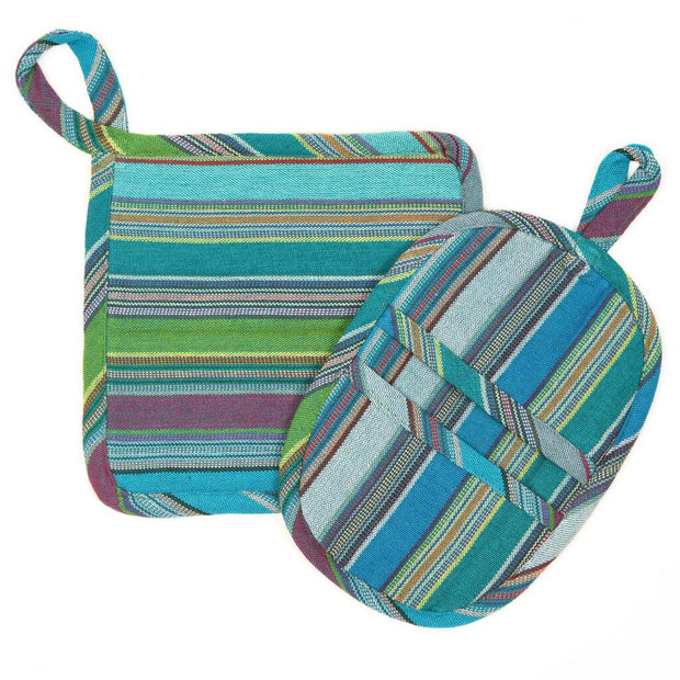 Potholder Gift Set | Quetzal Jade Stripes