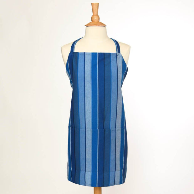 Bib Apron | Stormy Blues Stripes