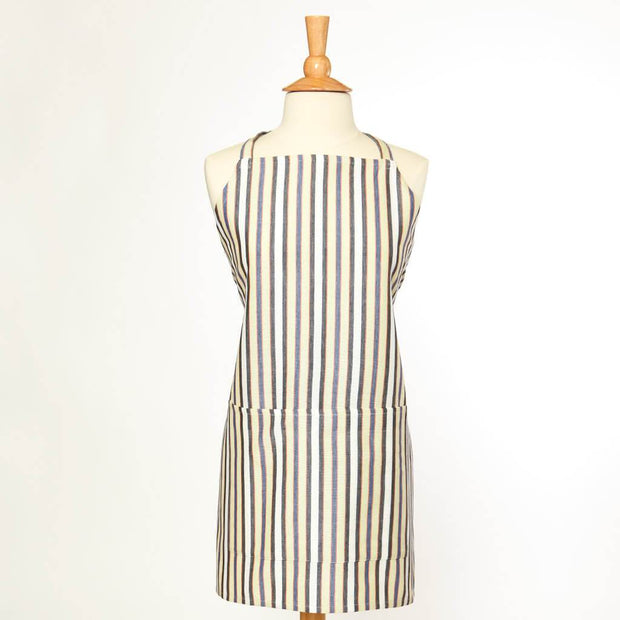 Bib Apron | Celery & White Stripes