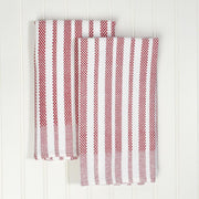 Hache Dish Towels  Red & White Stripes with Border