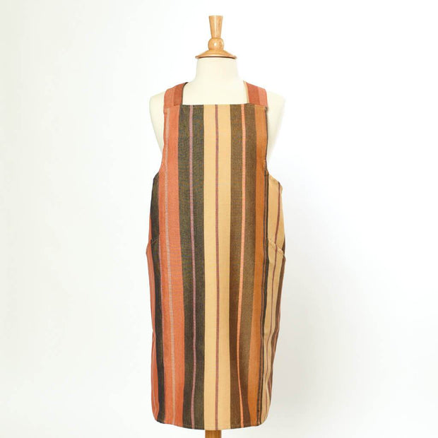 Crossback Apron | Wide Caramel Stripes