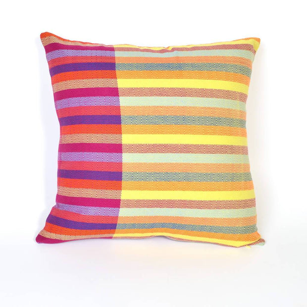 Diamond Stripe Magenta with Lime Yellow Reversible Pillow