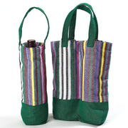 Wine Bottle Tote | Double in Soft Multi Stripe