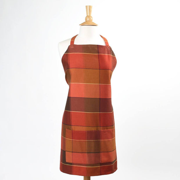 Fall Plaid Twill Bib Apron Pumpkin