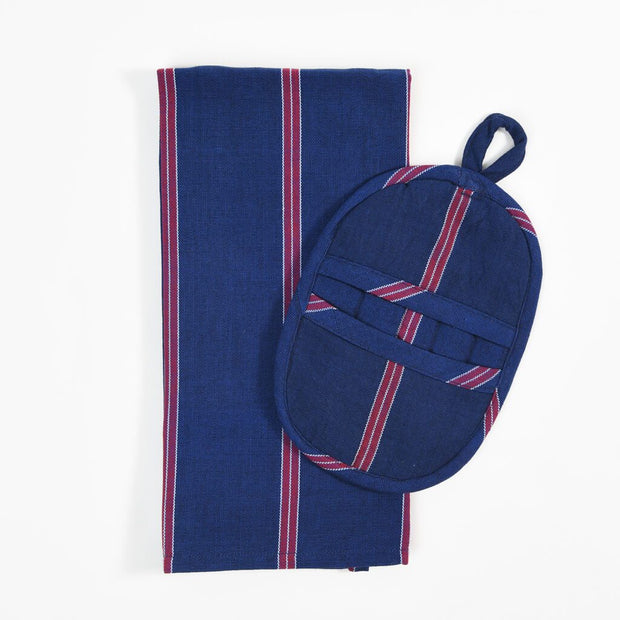 Dish Towel & Pot Holder Gift Set | Red White & Blues Stripes