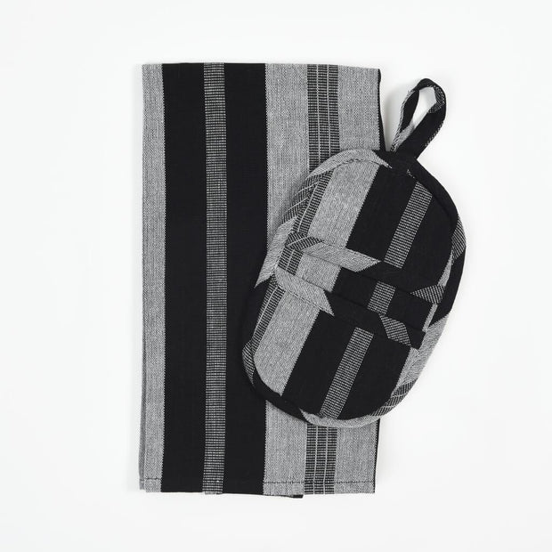 Dish Towel & Pot Holder Gift Set | Black & Gray Stripes