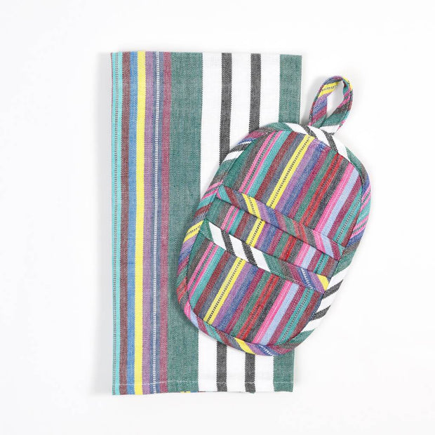 Dish Towel & Pot Holder Gift Set | Soft Multi Stripes