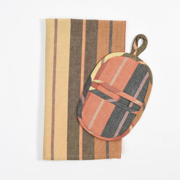 Dish Towel & Pot Holder Gift Set | Wide Caramel Stripes