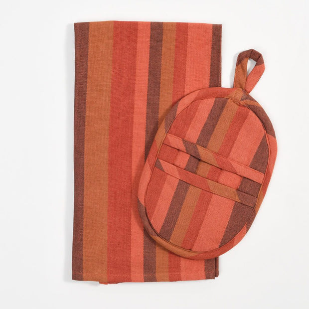 Dish Towel & Pot Holder Gift Set | Pumpkin Spice Stripes