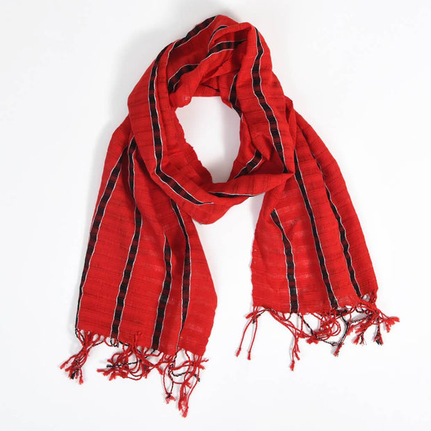 Fringed Gossamer Scarf | Cajola Red Stripe