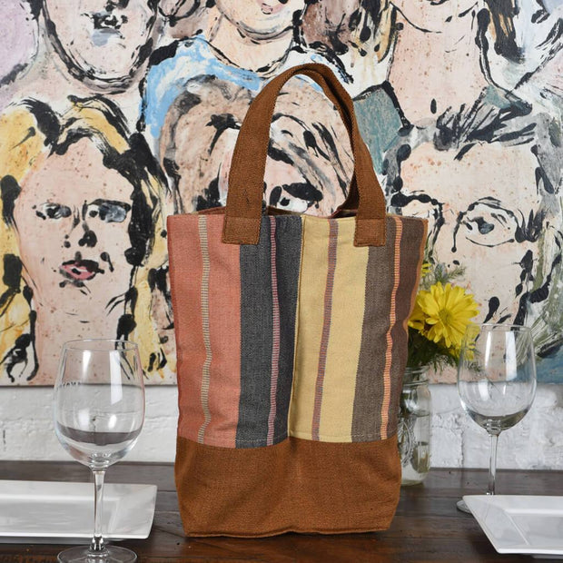 Wine Bottle Tote | Double in Wide Caramel Stripe