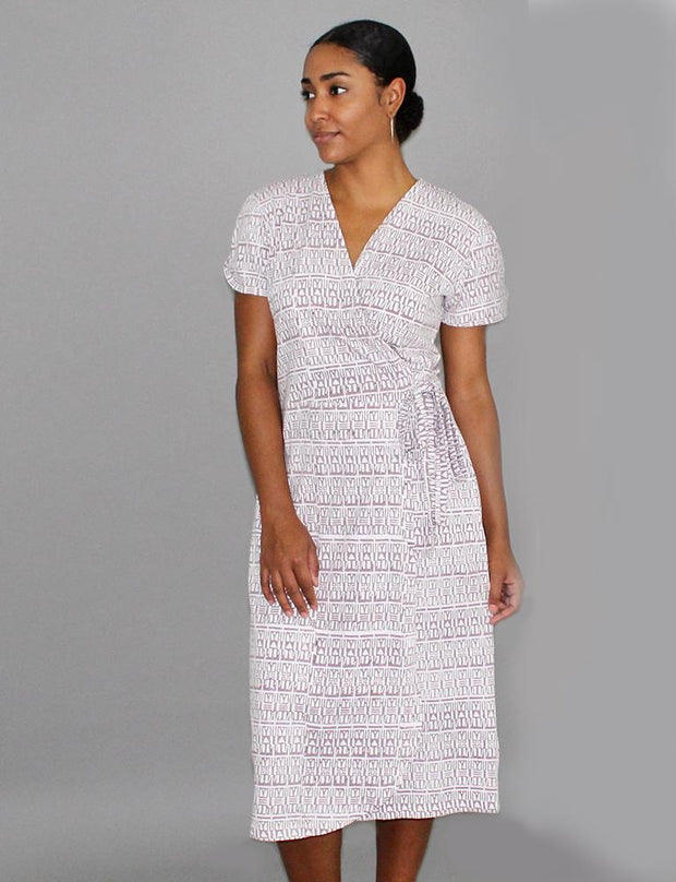 Geo Mauve Organic Jersey Wrap Dress