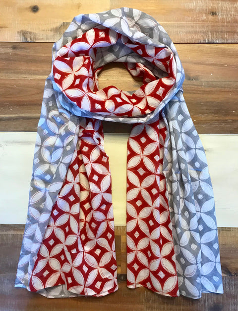 Red & Grey Diamond Scarf