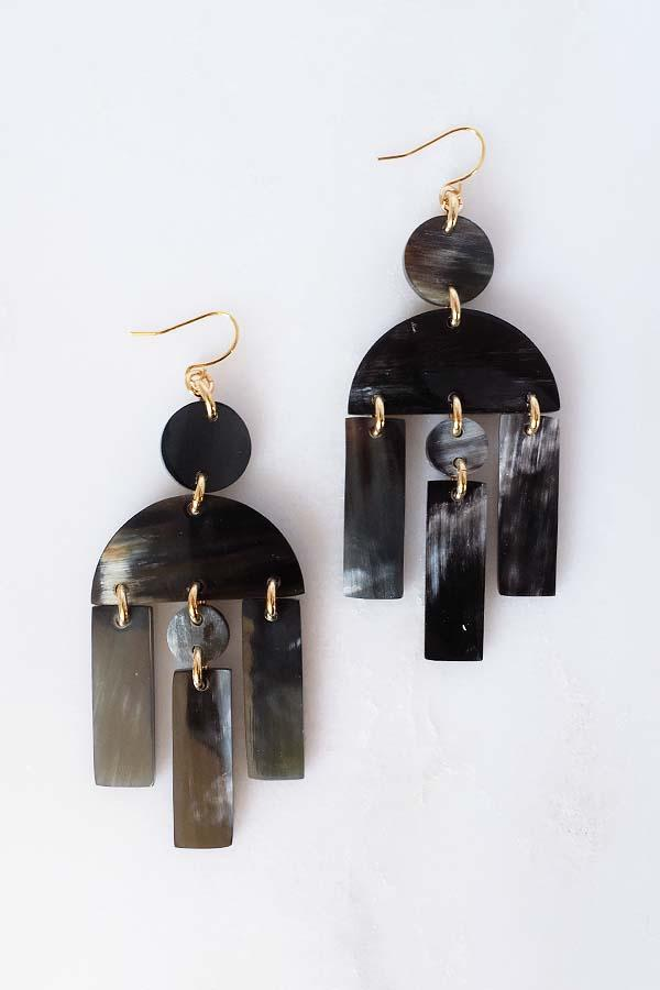 Hoang Hau 16K Gold-Plated Brass Buffalo Horn Geometric Statement Earrings