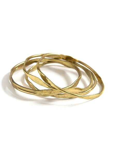 Hammered Waves Brass Bangle Set