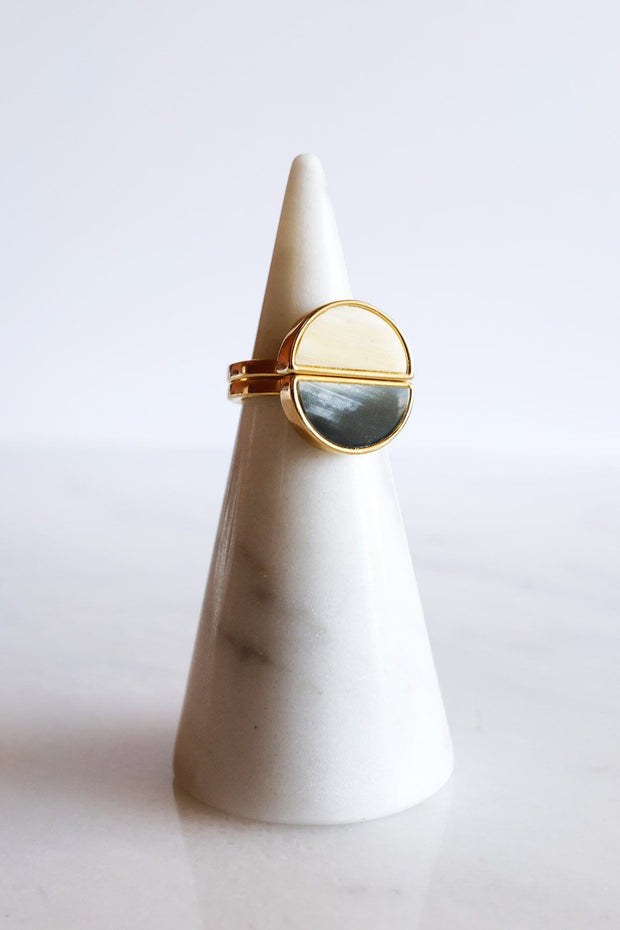 Mat Trang 16K Gold-Plated Brass Buffalo Horn Crescent Ring