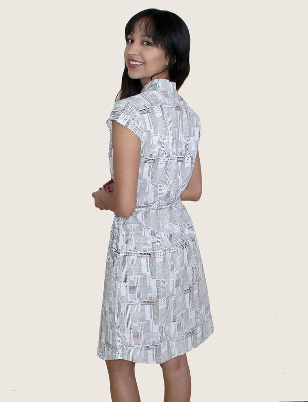 Newsy Gazette Button Dress