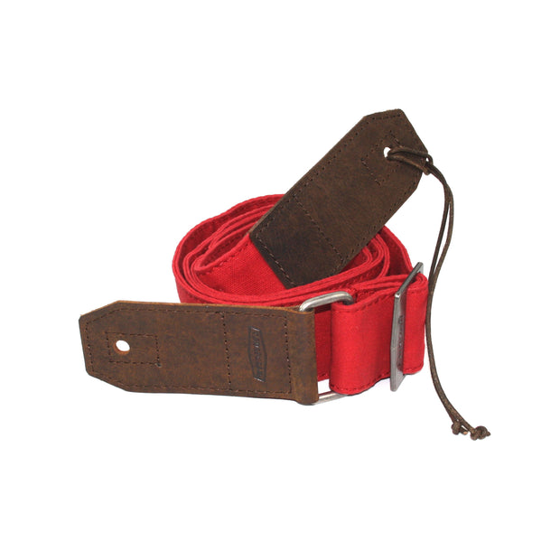 GUITAR STRAP | Red Canvas & Leather