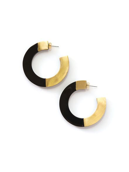 Retro Horn and Brass Blocked Hoops - Large