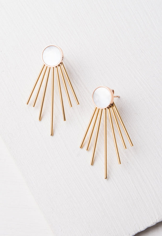Caroline Mother-of-Pearl Stud & Fringe Earrings