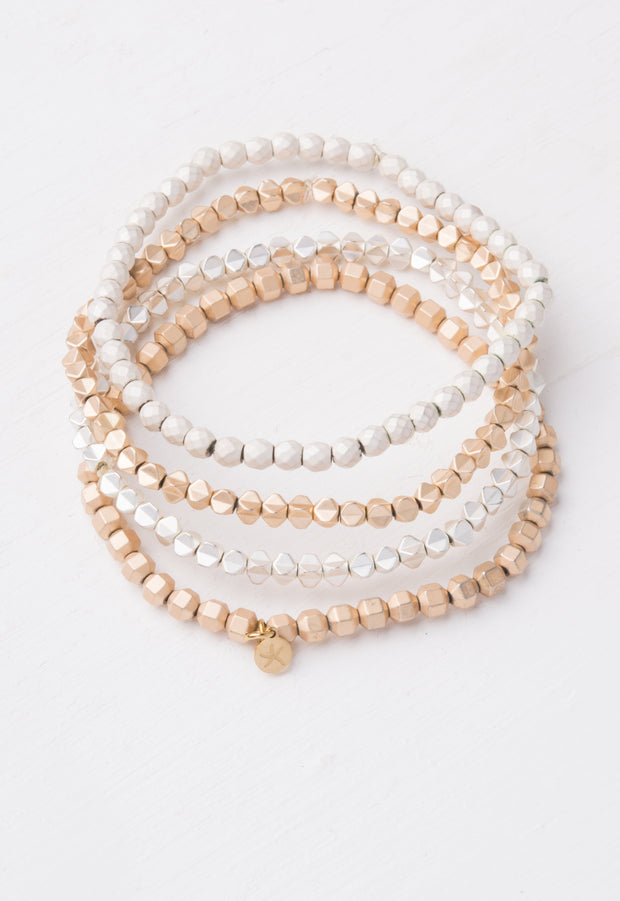 Kristi Gold & White Bead Bracelet Set