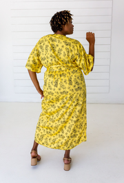 Tattoo Floral Maxi Wrap in Citron + Black