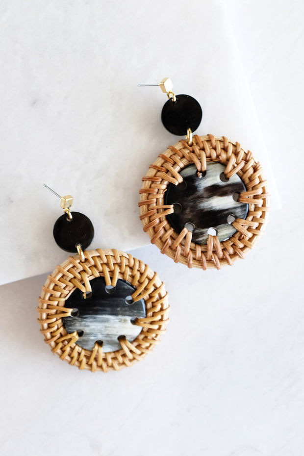 Thuy Binh Buffalo Horn & Handwoven Rattan Dangle Earrings