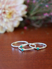 Tiny Stone Sterling Stacking Ring Set - Turquoise