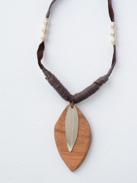 Wood and Leather Leaf Necklace