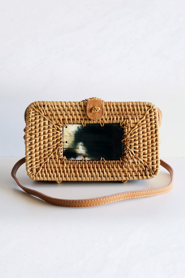 Xo Dang Buffalo Horn Centerpiece Rectangular Wicker Rattan Handbag