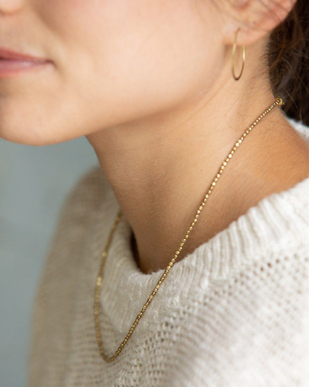 Tiny Brass Bead Choker Necklace