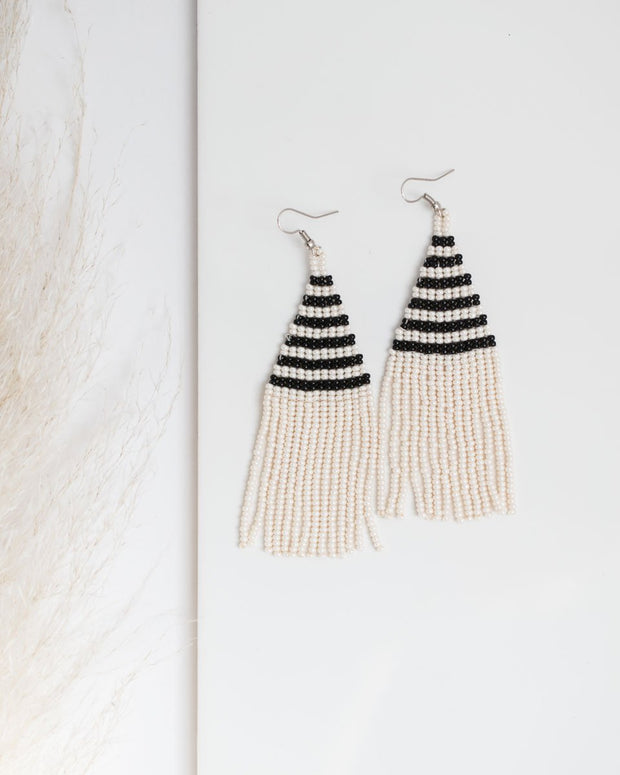 Beaded fringe earrings in Raya