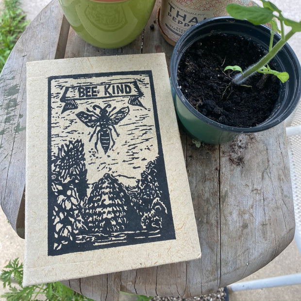 Bee Kind Block Print Journal