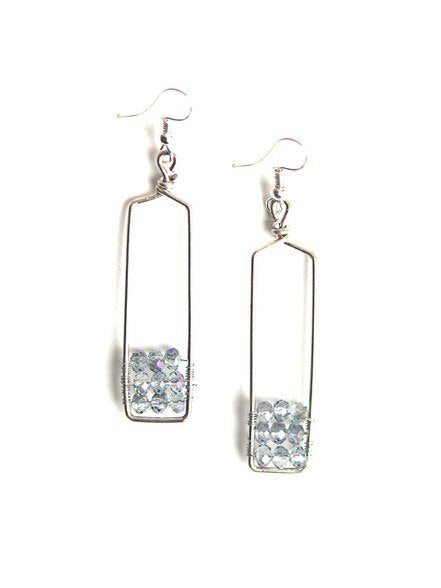 Silver Stairwell Glass Earrings
