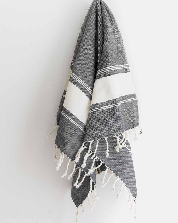 Oversized Woven Hand Towel in Black and Cream Stripes
